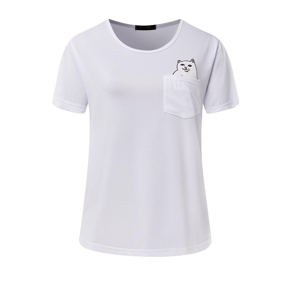Harajuku Summer T Shirt Women Pocket Cat Cute