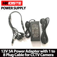 HKIXDISTE 12V 5A 8CH Power Supply CCTV Camera Power Box 8 Port DC+Pigtail COAT DC 12V Power Adapter