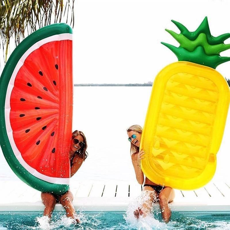 180*90 cm géant gonflable pastèque ananas piscine flotteur lit d'eau jouet gonflable plage matelas natation anneau cercle mer fête