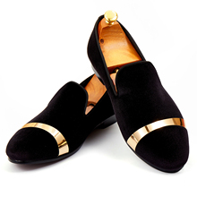 Harpelunde Slip On Men Dress Shoes Black Velvet Loafers With Gold Plate Handmade Flat Shoes Size 7-14