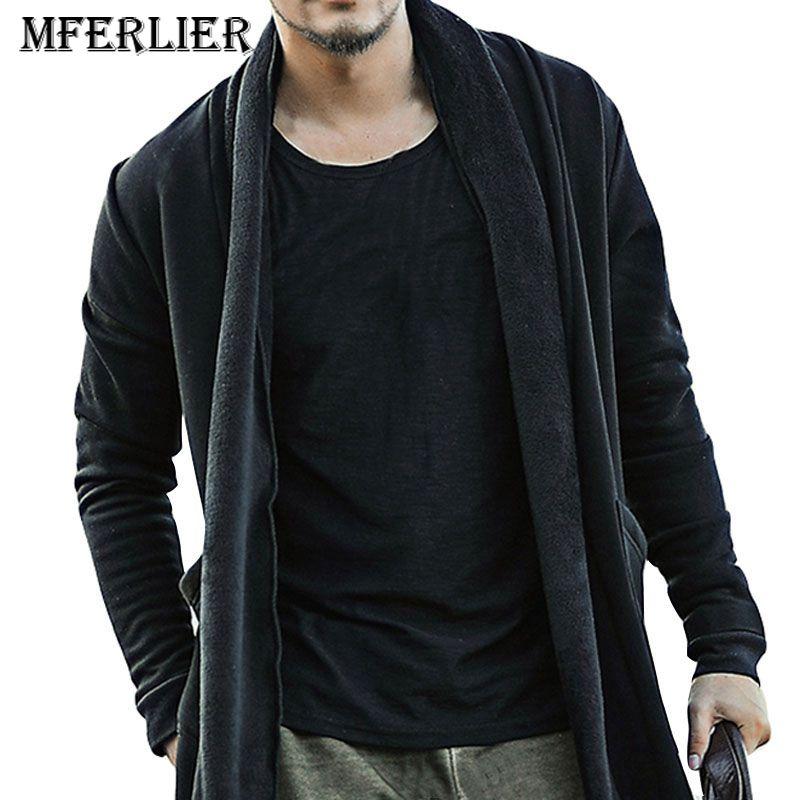 Mferlier 가을 겨울 까마귀 남자 5xl 6xl 7xl 8xl 9xl 큰 양털 바스트 160 cm 긴 소매 따뜻한 까마귀 남자 블랙 색상을 유지-에서후드티 & 스웨터부터 남성 의류 의  그룹 1