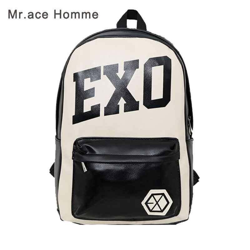 New Men's EXO School Bag KPOP XOXO Vintage PU Leather Satchel Backpack for Girls Travel EXO School Bags msmo 2017 new kpop exo canvas backpack sacks women men student school bags for girl boy casual travel exo bags