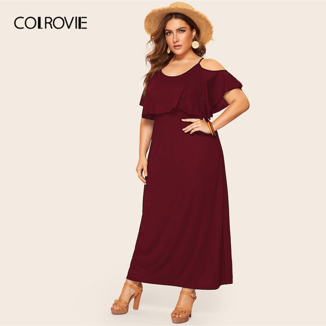 COLROVIE Plus Size Cold Shoulder Solid Maxi Dress Women 2019 Summer Casual Short Sleeve High Waist Elegant Office Ladies Dresses 5