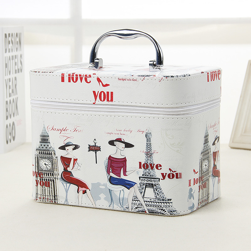2017 Fashion Tower pattern Women Cosmetic Bag PU Leather Makeup 2 Size Cases Small Travel Bags For