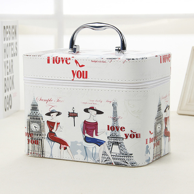 2017 Fashion Tower pattern Women Cosmetic Bag PU Leather Makeup Bag 2 Size Cosmetic Cases Small Travel Cosmetic Bags For Women