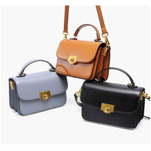 Women's new Korean version of the star cover type Messenger bag Small ck fashion first layer leather lock buckle shoulder bag недорого