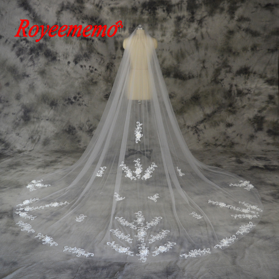 3 Meter Lace flower Big Church Veil with Comb Wedding Veil wedding accessary free shipping