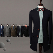 2018 Big yards men's clothing spring and autumn men's clothing suit slim medium-long suit male stand collar casual suit jacket