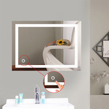 Wanna LED lustra lustro do makijażu z oświetleniem światła lustra do łazienki 2 rozmiary prostokąt podświetlane lustro łazienkowe naścienne francja HWC tanie i dobre opinie Glass CN (pochodzenie) Podświetlany Rectangle Nowoczesne 60x70cm 60x80cm Makeup Mirror Wyposażone Bezramowe lustra Metal