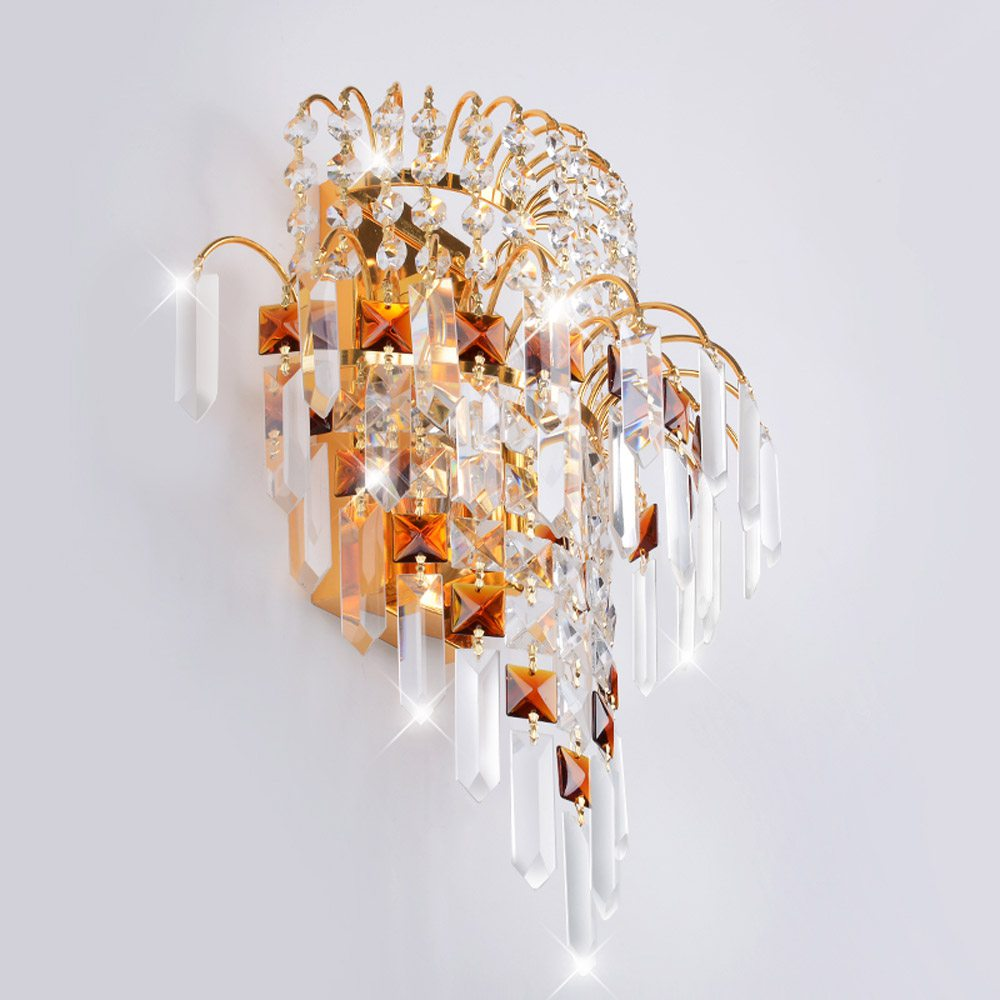 Modern Crystal crown Hanging Bedsides Wall Lights Creative Bedroom Golden Corridor Wall Lamp Mirror Front Wall Sconces цена