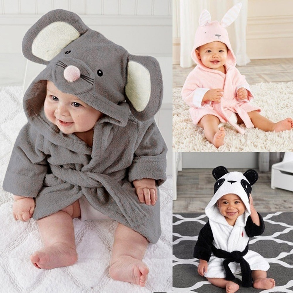 MUQGEW Winter Baby Boys Girls Clothes Kids Bathrobe Cartoon Animals Hooded Towel Pajamas Clothes roupa infantil одежда на маленьких мальчиков