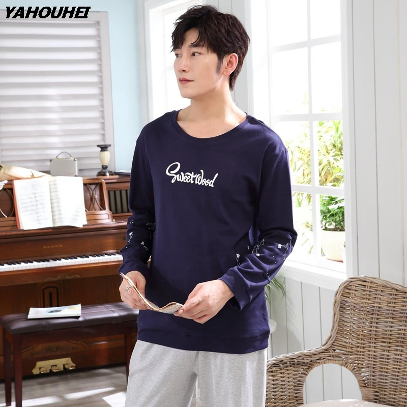 Casual Cotton Pajama Set For Men 2019 Autumn Winter Long Sleeve O-neck Letter Pyjama Sleepwear Male Lounge Homewear Home Clothes