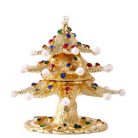 3 2 8IN Christmas Tree Trinket Box Metal Crystal Wedding Jewelry Case Earring Ring Storage Box