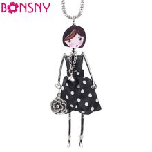 Bonsny Handmade Statement French Doll Necklaces Maxi Long Chain Pendant 2016 Alloy Bohemian News Choker Girls Women Accessories(China)