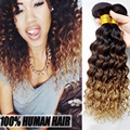7a Unprocessed Brazilian Deep Wave Virgin Hair 4 Bundles/Lot ,Brazilian Virgin Hair Ombre  Human Hair Kinky Curly Virgin Hair