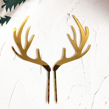 2pcs Merry Christmas Acrylic Cake Topper Gold Deer Elk Antlers Acrylic Cupcake Topper For Party Cake Decorations Xmas 2021