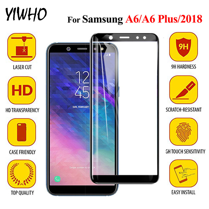 For Samsung A6 Protective Glass On For Samsung Galaxy A6 Plus 2018 Tempered Glass Screen Protector Sansung A 6 6A A6Plus Film 9H