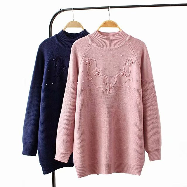 41b67462b4c Plus size pink   dark blue beading winter women pullovers 2018 Turtleneck  Knitted casual ladies oversize sweater wool female 4XL