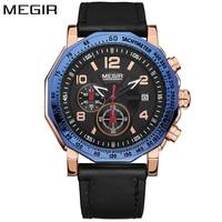 MEGIR Top Luxury Fashion Blue Gold Watch Men Sports Watches Leather Strap Military Wristwatch Clock Male relogio masculino