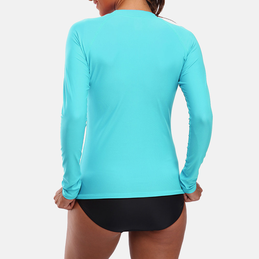 Charmleaks Women Long Sleeve Rashguard Swimsuit Shirts UPF50 Womens Retro Print Swimwear UV Protection Rash Guard Beach Wear in Rash Guard from Sports Entertainment
