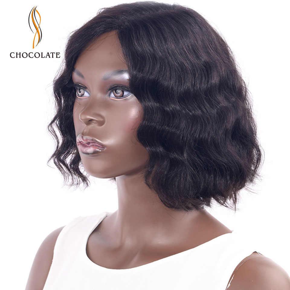 Натуральные волосы шоколадного цвета парики бразильские волнистые волосы парик шнурка передние парики Remy 10 дюймов ручной работы короткие боб парики шнурка для Для женщин