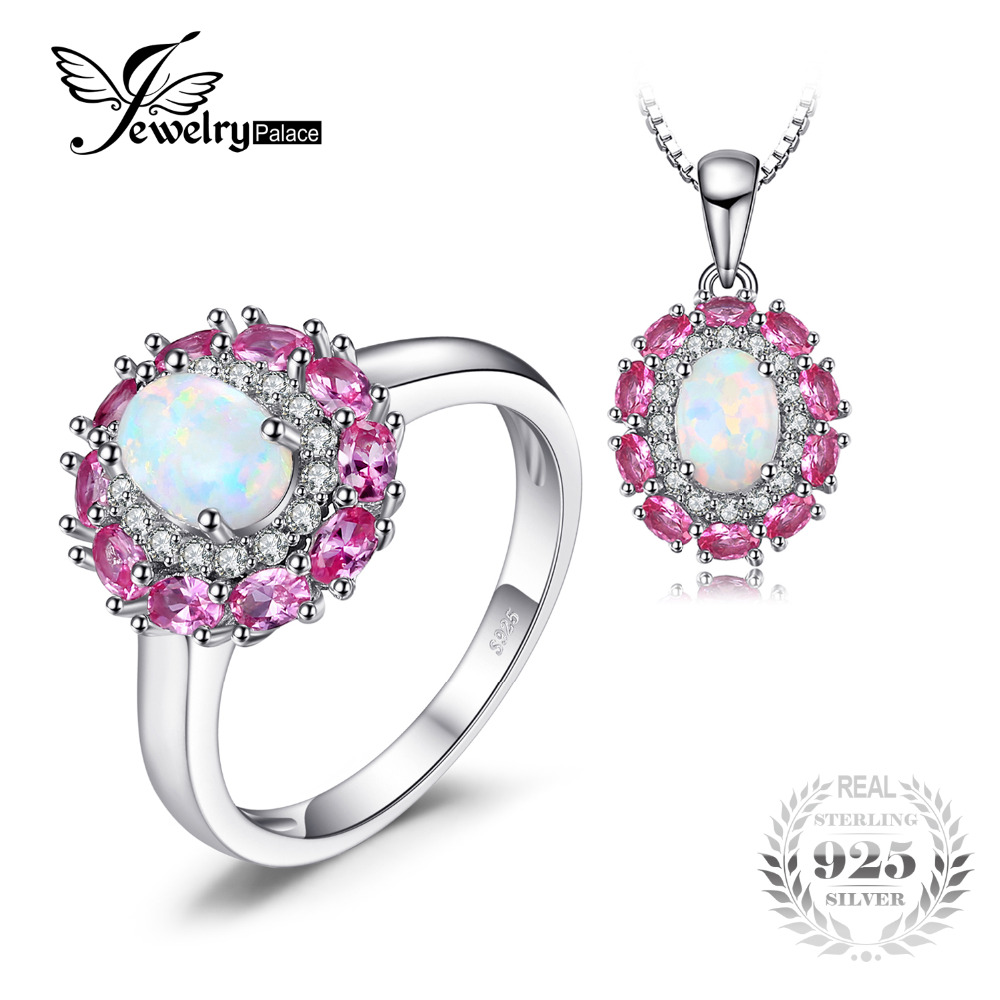 JewelryPalace Fashion Created White Opal Pink Sapphire Cluster Halo Ring Pendant Necklace Jewelry Sets 925 Sterling Silver New