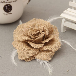 Antique Burlap Rose Flower Wit