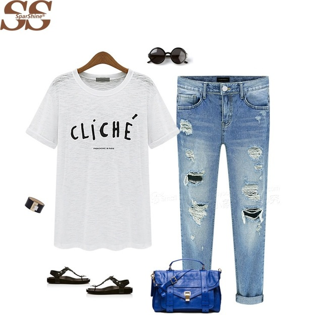 Fashion Style Hole Ripped Jeans Women Pants Denim Vintage Straight Jeans For Girl Mid Waist Casual Pants Female Femme