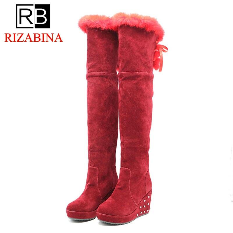 RizaBina 5 Color Warm Women Over The Knee Boots Zipper Solid Color Flats Shoes Winter Plush Fashion Women Boots Size 34-43 stylish women s solid color pleated culotte