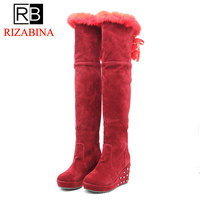 RizaBina 5 Color Warm Women Over The Knee Boots Zipper Solid Color Flats Shoes Winter Plush Fashion Women Boots Size 34 43