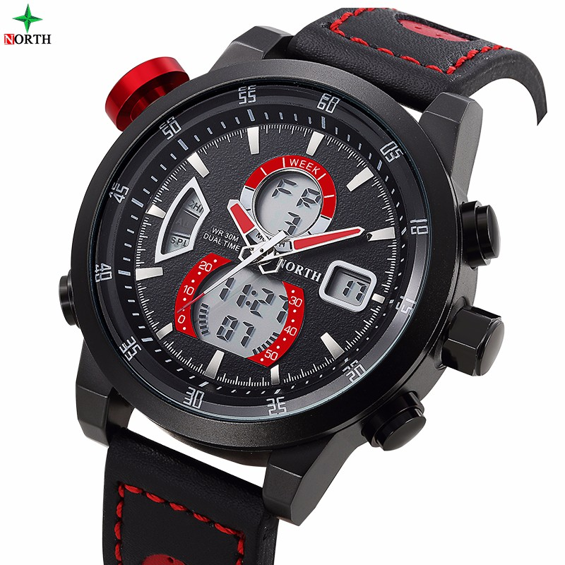 North Luxury Men Watch Muiltfunction Waterproof Sport for Man Big Dial Geniune Leather Black Red Casual Quartz Wristwatch