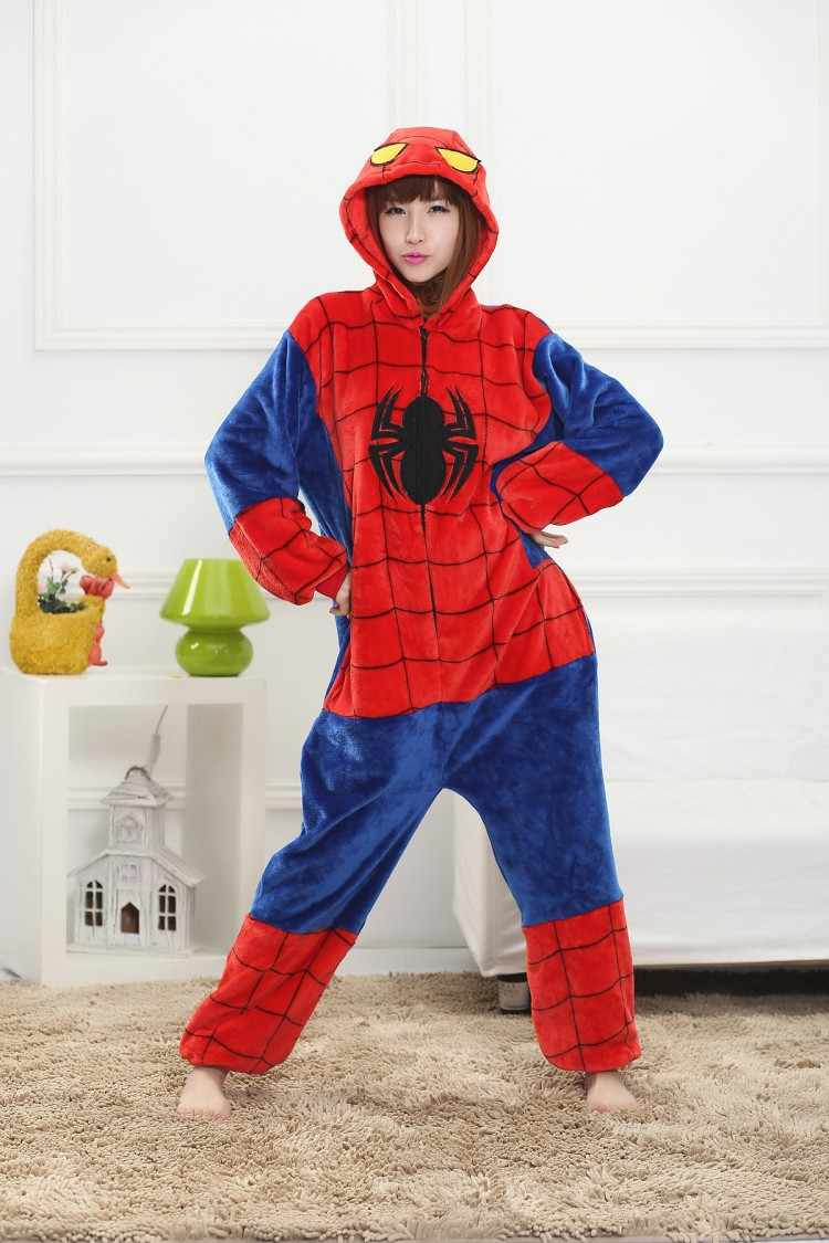 ad1174d354c5 Detail Feedback Questions about Unisex Spiderman Onesies Adults Pajamas  Flannel Hooded Cosplay Cartoon Costums Animal Pyjamas For Women Men on ...