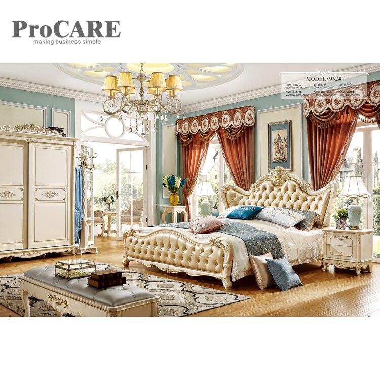 Le dernier lit en cuir européen lit king size sculpté design avec tiroir-952