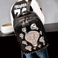 Men Backpack Rivet 3D Fright Skull Emboss Shoulder Bag alligator Leather Bags Travel Backpack Restore Halloween Cool