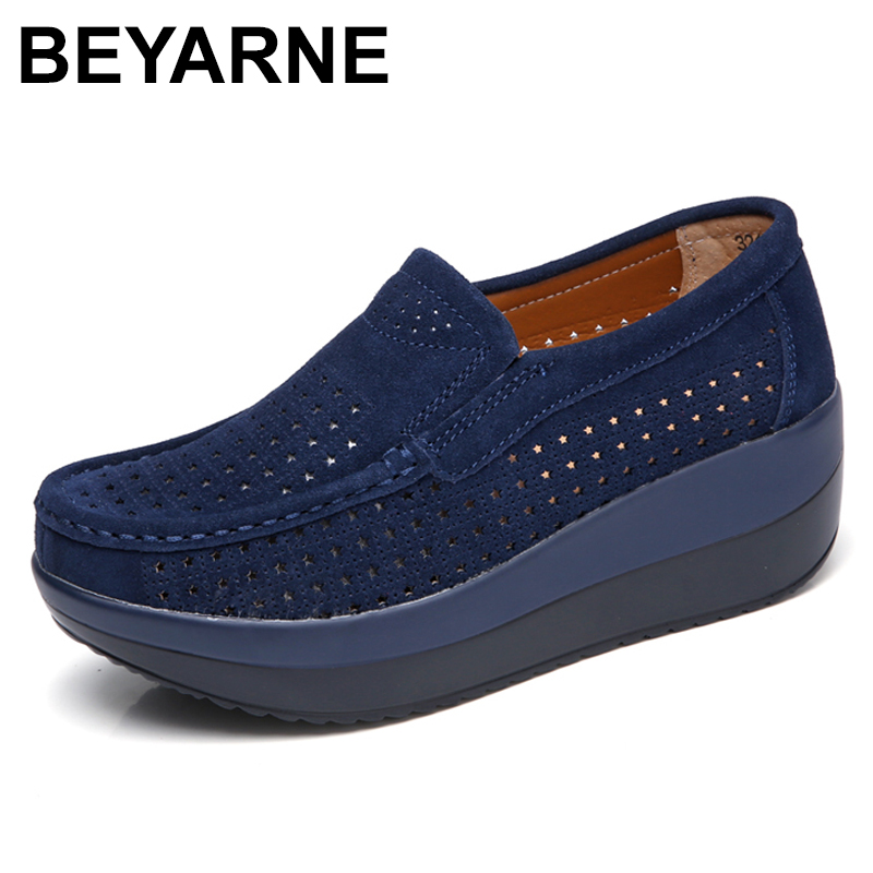 BEYARNE2018 Autumn women flat platform loafers shoes ladies   suede     leather   footwear casual shoes slip on flats Moccasin creepers