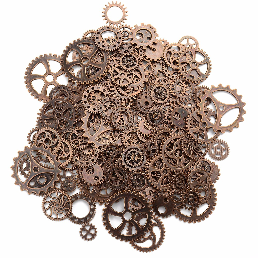 About 120g/lot DIY jewelry Making Vintage Metal Mixed Gears Steampunk Gear Penda