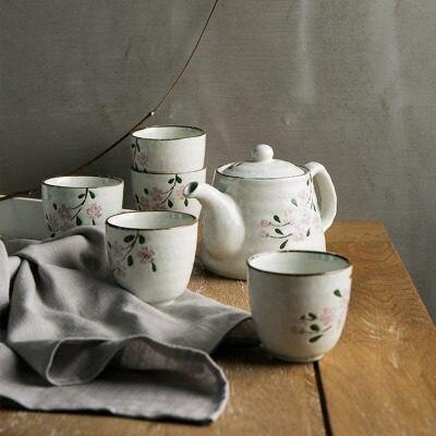 Japanese Cherry Ceramic Tea Set [1 Teapot+5 Cups] Coffee Mugs Drinkware tea water Kettle Christmas Gift Porcelain Kungfu Tea Set
