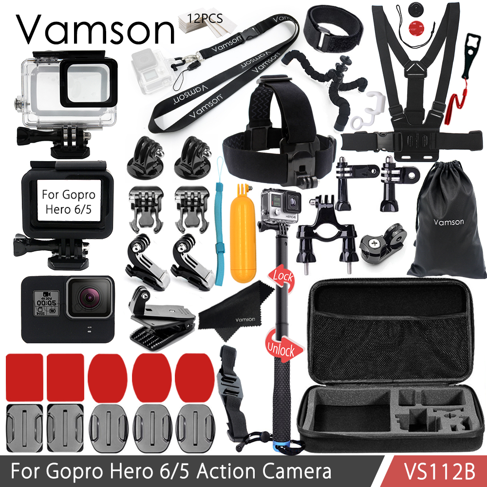 Vamson for Gopro Hero 6/5 for Gopro accessories kit Waterproof housing case Standard Frame Neck Strap VS112C набор аксессуаров для gopro hero от vamson vs19 с поплавком ремнями и штативами