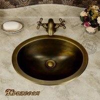 Европейский стиль сад античная латунь умывальник раковина круглая ванная раковина