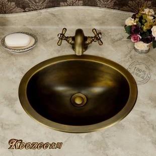 European-style garden antique brass wash basin basin round bathroom sinkEuropean-style garden antique brass wash basin basin round bathroom sink