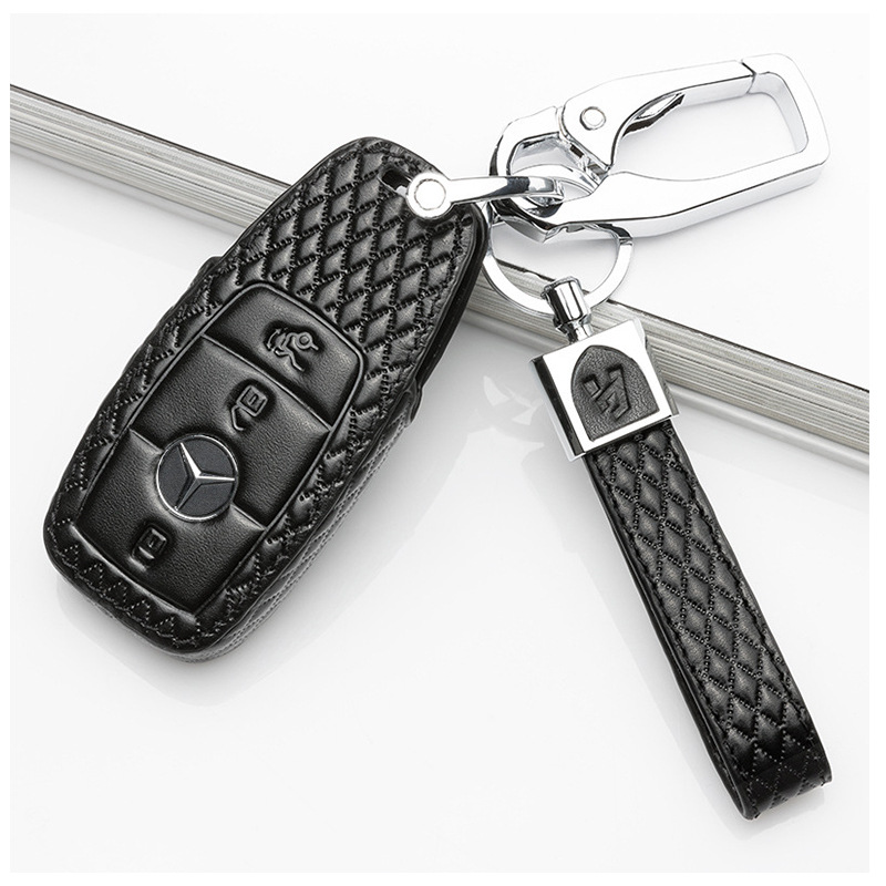 Carbon Leather Remote Key Cover Glove For Mercedes W204 W176 W164 W212 W117 CLA