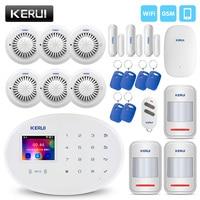 KERUI беспроводной умный дом сигнализация Wi Fi Радиочастотная Идентификация GSM карта охранная сигнализация с 2,4 дюймов TFT сенсорная панель дете