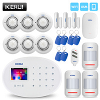 KERUI Wireless Smart Home Alarm WIFI GSM RFID Card Security Alarm System With 2.4 inch TFT Touch Panel Motion Detector Alarm