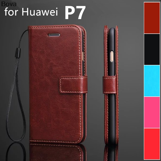 Fundas für Huawei P7 Kartenhalter Hülle für Huawei Ascend P7 Pu Ledertasche Brieftasche Hülle Flip Telefonhülle Handytaschen