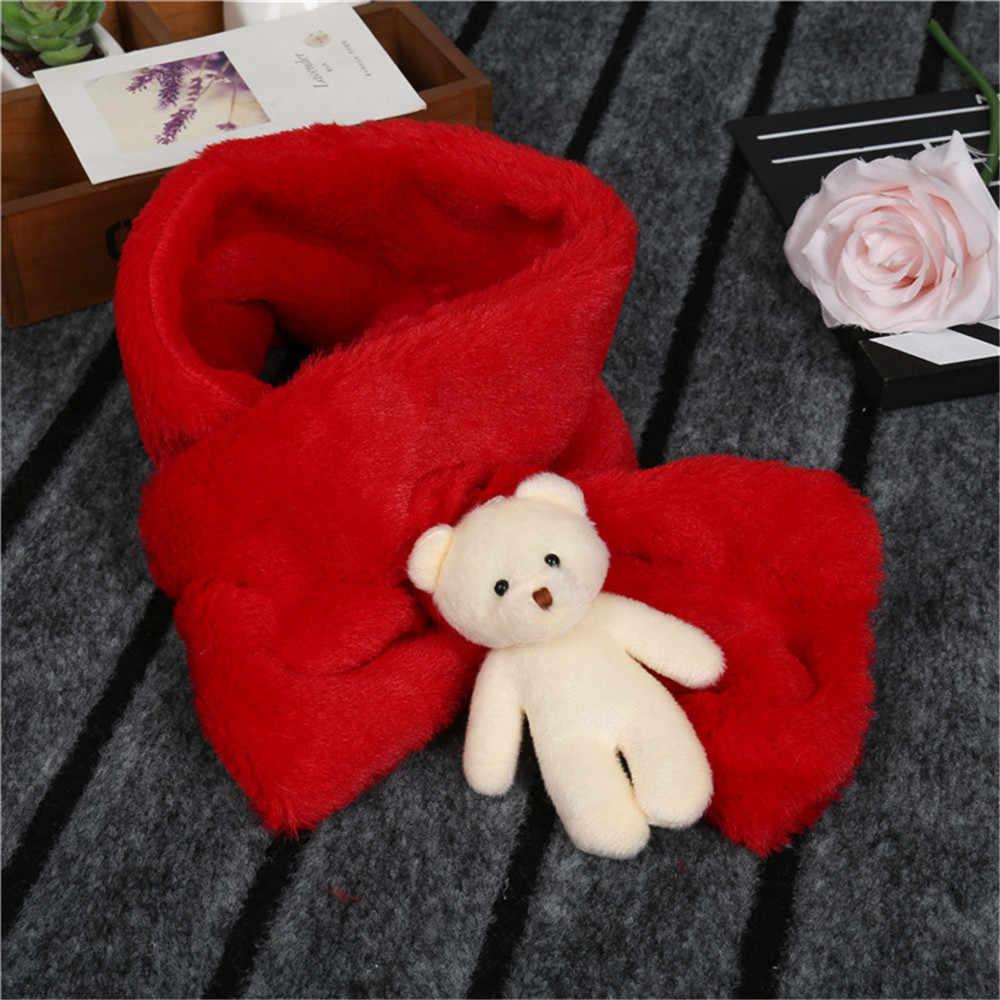 Детское кольцо в форме перекрестка, теплый зимний шарф с милым 3D мультяшным медведем, имитация кролика, меховой воротник, шарфы для девочек и мальчиков