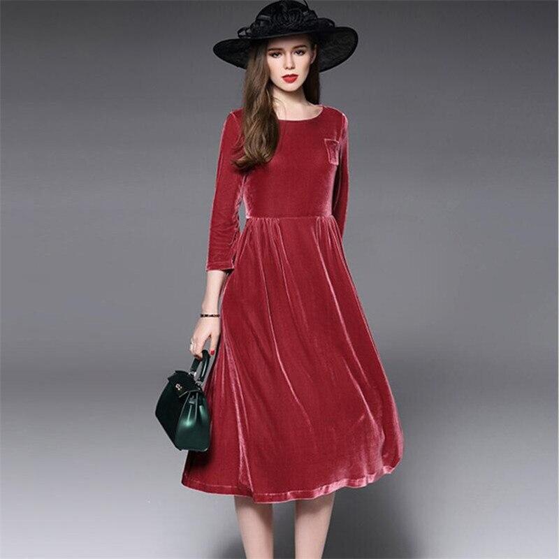 Autumn Winter A line Elegant Dress Woman Casual Large Size M 5XL 6XL 7XL Solid Color O neck Dress Ladies Gold Velvet 2018 Velour
