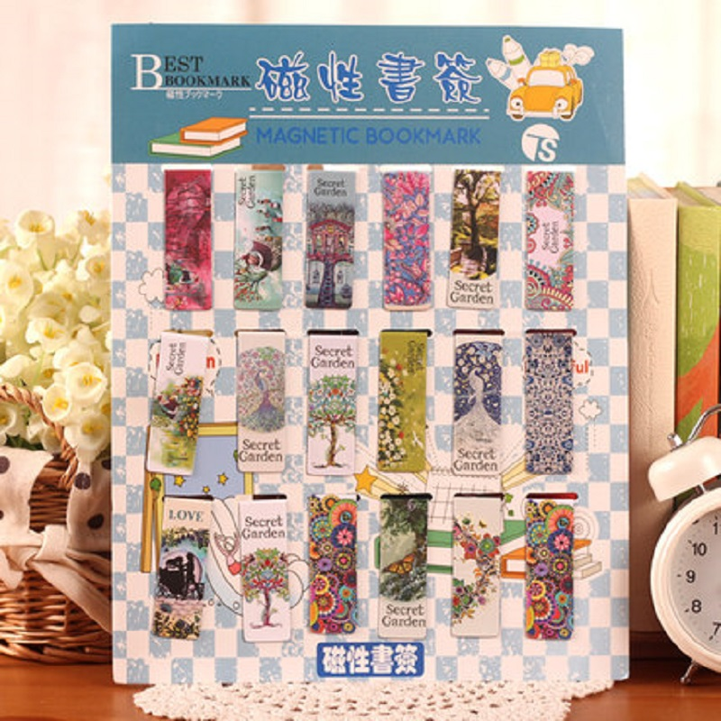 Free shipping secret garden cute stationery cartoon magnetic bookmark clip 18 Bookmarks magnetic cartoon book mark 5pack 10pcs hot sale new cute silicone finger pointing bookmark book mark office supply funny gift