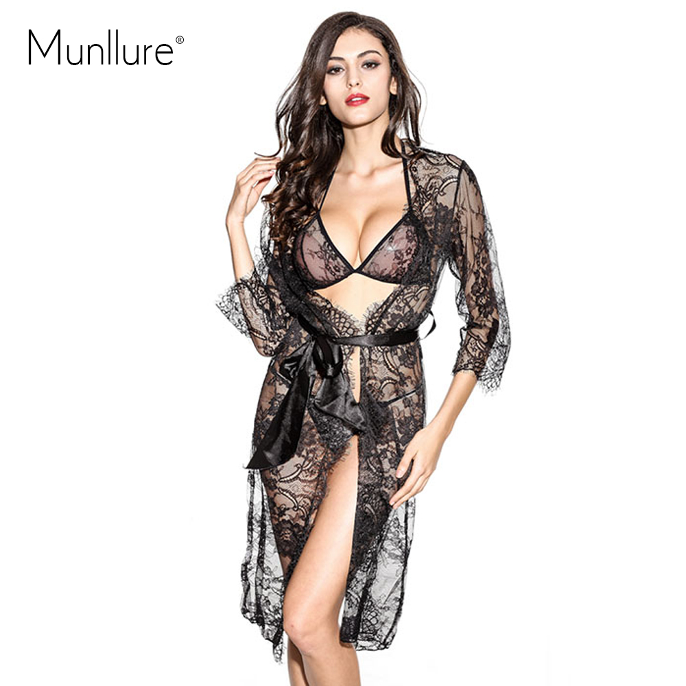 Black Eyelash Lace Nightdress Nightgown Sexy Lace Up Three Piece Luxury Temptation