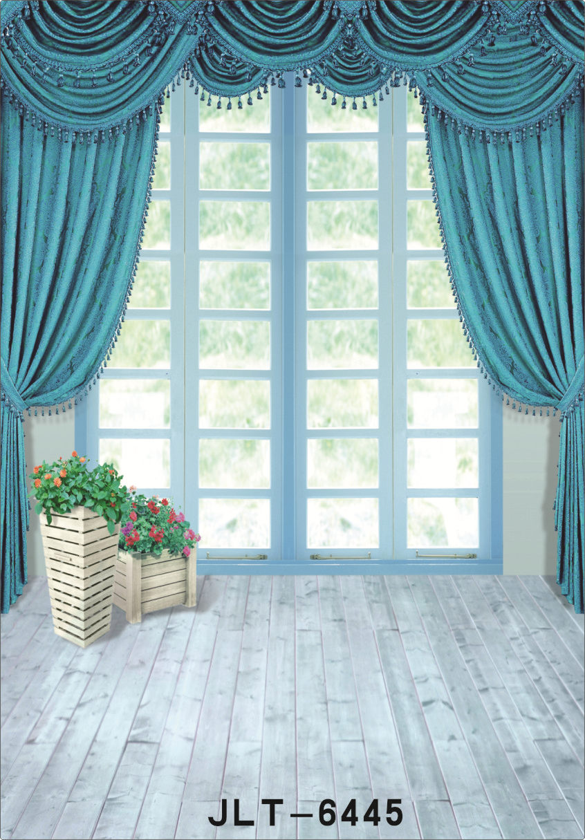 Vinyl Photography Backgrounds for Photo Shoots Blue Curtain Window Children Wedding Photographic Backdrop for Photo Studio