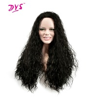 Deyngs Long Afro Kinky Curly Synthetic Wigs For Black Women Black Color Natural African American Hairstyle
